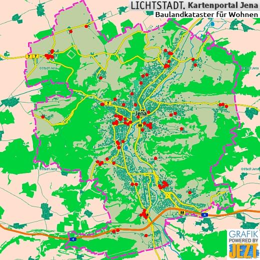Baulandkataster - Auszug aus dem Kartenportal der Stadt Jena - Grafik powered by JEZT - Symbolbild
