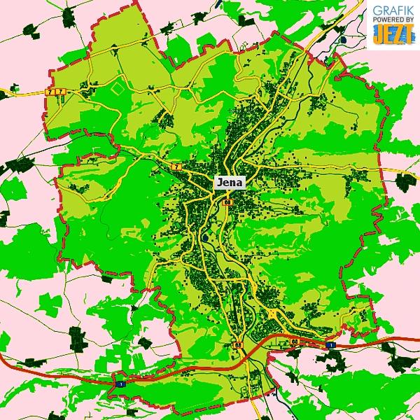 JEZT - Bunte Übersichtskarte der Stadt Jena - Bilddaten © Kartenportal der Stadt Jena