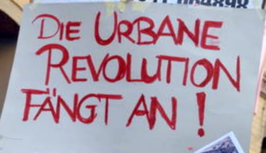JEZT - Die urbane Revolution faengt an - Plakat in der Carl-Zeiss-Strasse in Jena