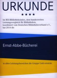 JEZT - Erfolgsurkunde 2014 fuer die Ernst-Abbe Buecherei Jena
