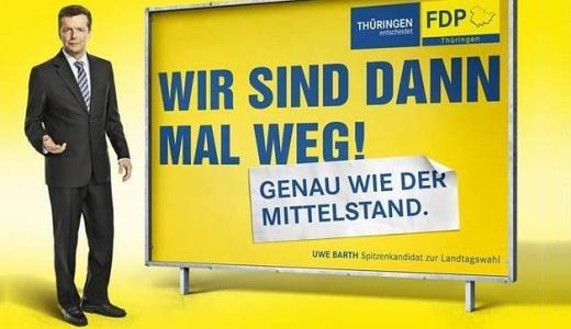 JEZT - Landtagswahl 2014 - Grossplakat der FDP Thueringen