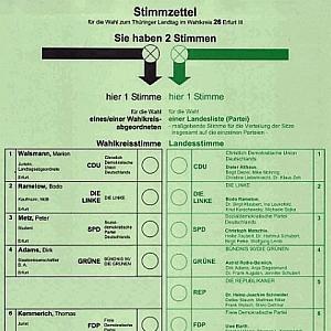JEZT - Wahlzettel zur Landtagswahl in Thueringen - Symbolbild