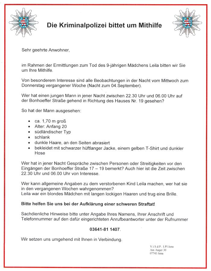 Fall Leila - Die LPI Jena bittet um Mithilfe bei der Aufklaerung einer schweren Straftat