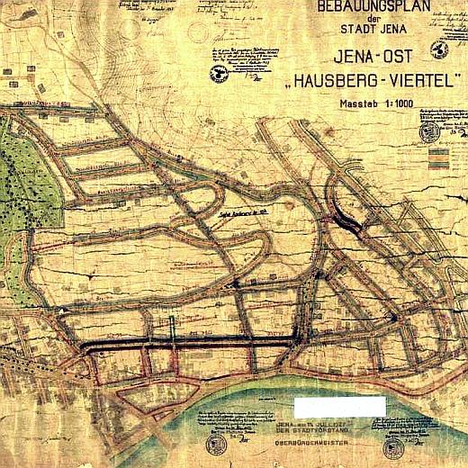 JEZT - Abbild des B-Plans Hausbergviertel aus dem Jahre 1927 mit Aenderungen aus dem Jahre 1937- Foto © Stadt Jena Kartenwerk