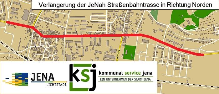 JEZT - Trasse des  des Projektes Neubau Straßenbahn Nord - Abbildung © Stadt Jena KSJ