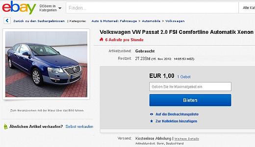 JEZT - EBAY Angebot VW Passat - Screenshot © MediaPool Jena
