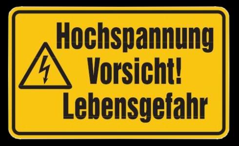JEZT - Hinweisschild Hochspannung - Abbildung © MediaPool Jena