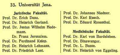 JEZT - Liste Jenaer Jura-Professoren 1914-1915 - Foto © MediaPool Jena