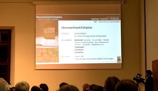 JEZT - Vorstellung der Ergebnisse der Ideenwerkstatt Eichplatz in der Rathausdiele - Foto © Rainer Sauer Jena