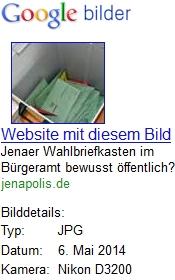 JEZT - google screenshot zu Jenaer Wahlbriefkasten im Buergeramt bewusst oeffentlich