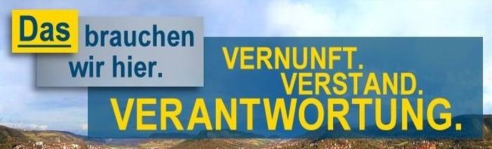 FDP Slogan Kommunalwahl 2014 - VERNUNFT VERSTAND VERANTWORTUNG - Abbildung © FDP Jena