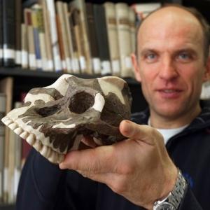 JEZT - Black Skull - Wertvoller Vormenschen Schaedel zum Anfassen in der Uni Jena -  Foto © FSU