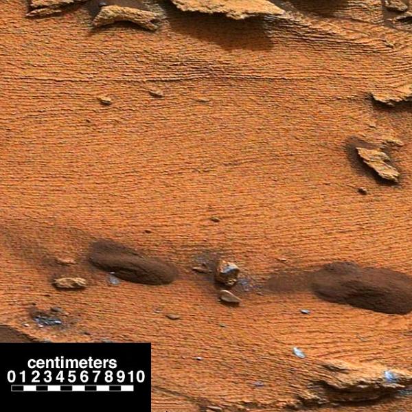 JEZT - Extrem duenne Sedimentschichten in Gestein im Gale Krater - Abbildung © NASA + Bearbeitung InterJena