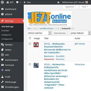 JEZT - Redaktionsoberflaeche WordPress 2014-12-26 - Abbildung © MediaPool Jena