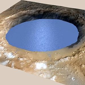 JEZT - Simulation eines Sees im Gale Krater auf dem Mars - Abbildung © NASA +Bearbeitung InterJena