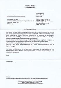 JEZT - Verpflichtungserklärung von Herrn RA Boehme an Rainer Sauer vom Dezember 2014 - Abbildung © MediaPool Jena