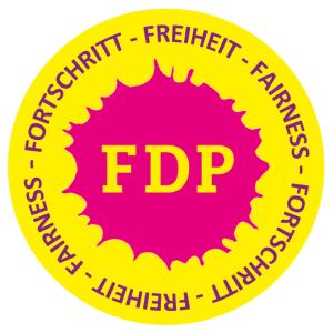 FORTSCHRITT - FREIHEIT - FAIRNESS - weiss - Abbildung © FDP Jena