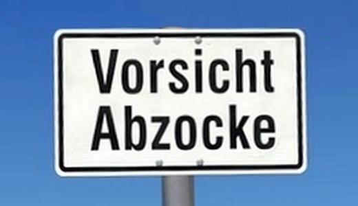 JEZT - Vorsicht Abzocke Schild - Abbildung © MediaPool Jena