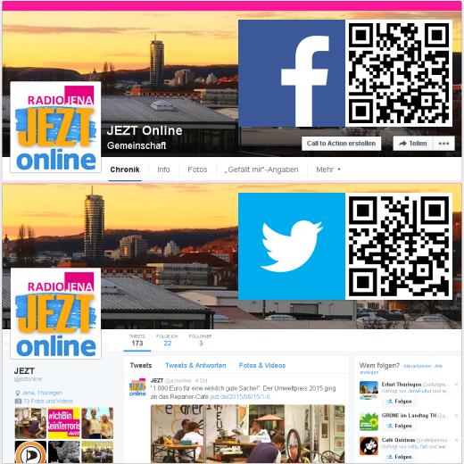 JEZT Online QR auf Facebook und Twitter - Abbildung © MediaPool Jena