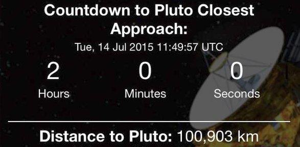 JEZT - Countdown to closest approach2015-07-14 11 h 49 - Abbildung © NASA