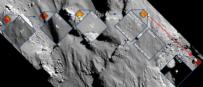 JEZT - Philaes drift on 67P-Tschurjumow-Gerassimenko - Foto © ESA Team Rosetta DLR