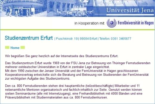 JEZT - JEZT - Webseite der FSU zum Studienzentrum Erfurt im September 2015 - Abbilduno © MediaPool Jena