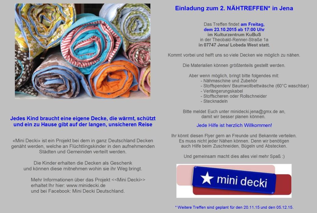 JEZT - Einladung um zweiten MiniDecken Naehtreff in Jena - Abbildung © MediaPool Jena