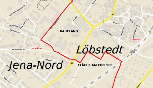 JEZT - Jena-Nord - Loebstedt - Kaufland - Flaeche am Egelsee - Abbildung © Kartenportal der Stadt Jena