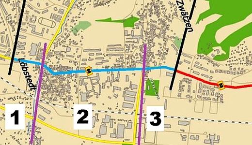 JEZT – Die drei beitragsbelasteten Bereiche der Strassenbahnneubaustrecke ins Himmelreich - Abbildung © Stadt Jena KSJ