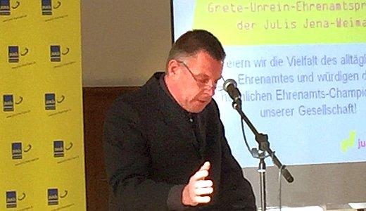 Rolf Ferdinand Schmalbrock war Festredner bei der Verleihung des Grete-Unrein-Preises 2015 - Foto © MediaPool Jena
