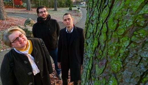 JEZT - Prof. Dr. Maria Mittag, Doktorand Daniel Schaeme und Prof. Dr. Severin Sasso betrachten Grünalgen am Stamm einer Kastanie - Foto © FSU Kasper