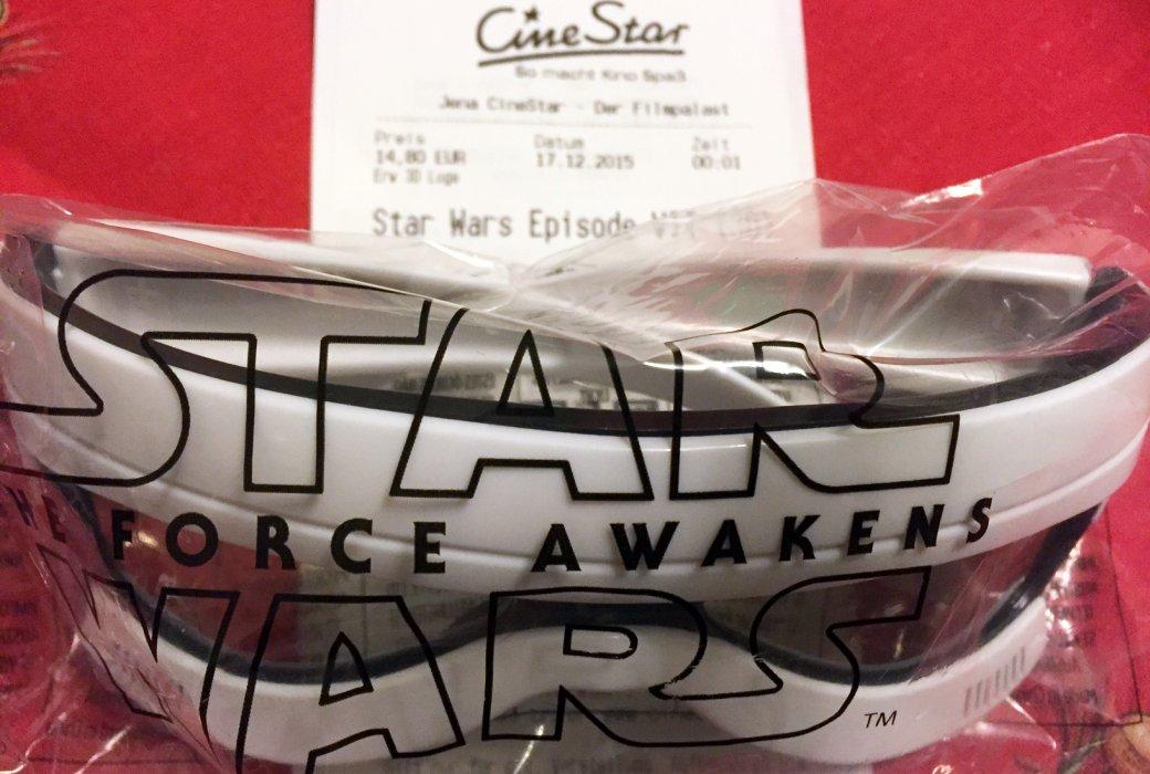 JEZT - Ticket und 3D-Brille des CineStar Jena fuer die Star Wars Episode 7 Premiere - Foto © MediaPool Jena
