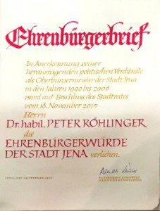 JEZT - Ehrenbürgerbrief der Stadt Jena für Dr. habil. Peter Röhlinger - Foto © MediaPool Jena