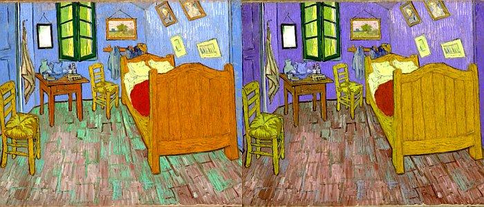"""""""Schlafzimmer in Arles"""" von Vincent van Gogh: links in den heutigen und rechte in der natürlichen Originalfarben - Fotos © THE ART INSTITUTE OF CHICAGO"""