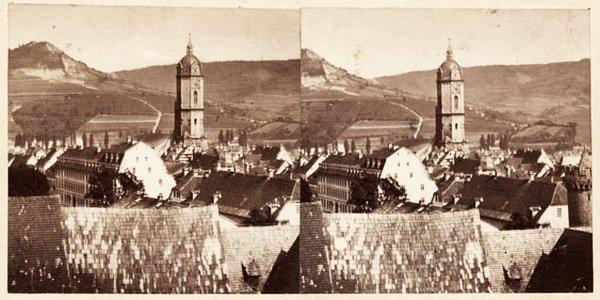 JEZT - Stereofotografie mit dem Blick von der Friedenskirche über die Stadt im Jahre 1905 - Abbildung © Stadtmuseum Jena