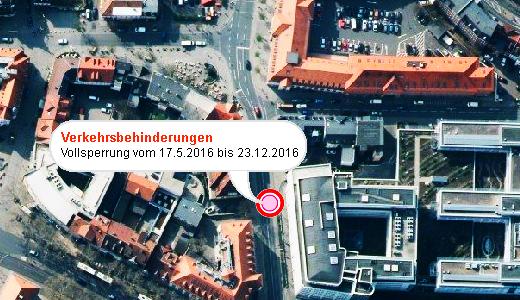 JEZT - Verkehrsbehinderungen in der Innenstadt - Abbildung © Kartenportal der Stadt Jena