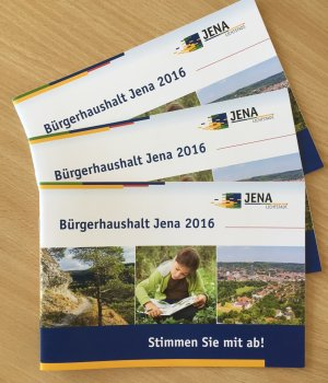 JEZT - Drei Broschüren zum Bürgerhaushalt 2016 der Stadt Jena © MediaPool Jena