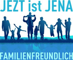 JEZT ist JENA Familienfreundlich - blaue Kachel - Fotolia_93195470