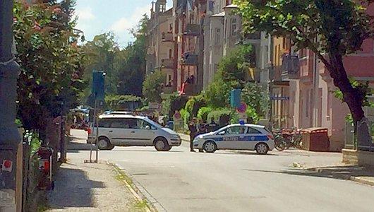 JEZT - Polizeiabsperrung im Damenviertel wegen der Thügida Demo - Foto © MediaPool Jena