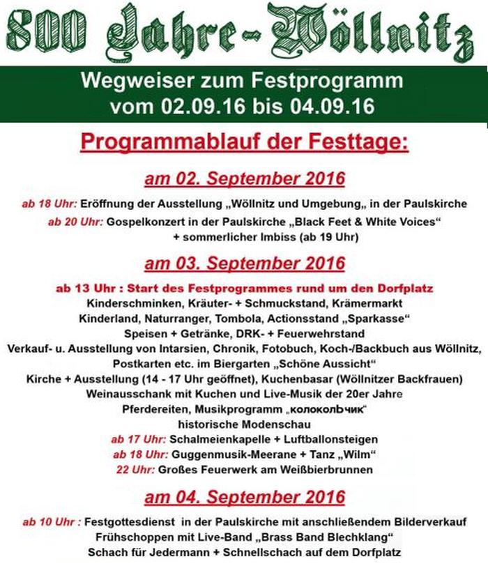 JEZT - 800 Jahre Wöllnitz Programm
