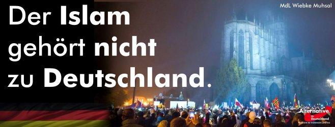 Der Islam gehört nichtz zu Deutschland - Facebooktafel © Wiebke Muhsal AfD