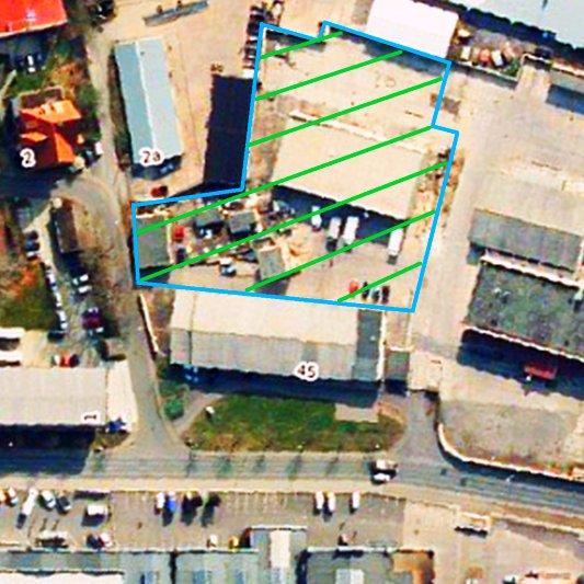 Hier könnte das Soziokulturelle Zentrum am Schlachthof in Jena entstehen. - Luftbildaufnahme © Kartenwerk der Stadt Jena