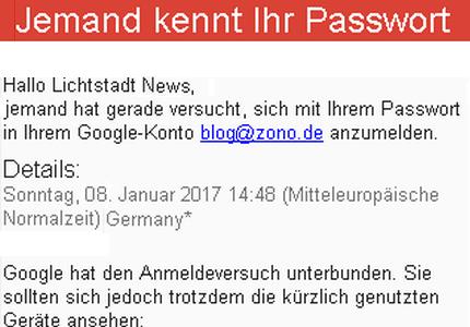 JEZT - Google Mitteilung zu Lichtstadt.News