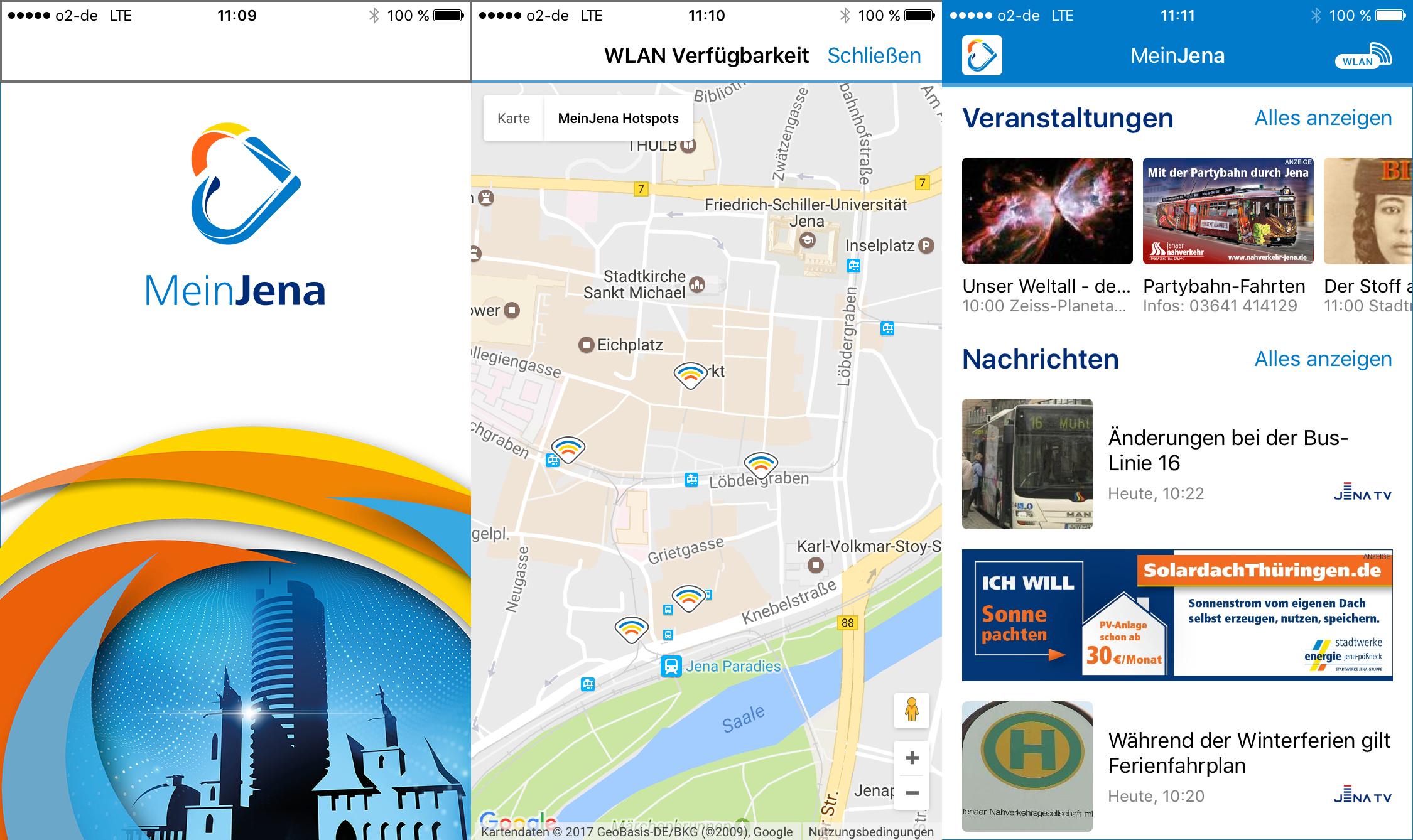 Die Menus der Stadtwerke Handy-App Mein Jena - Symbolfoto © Stadtwerke Jena Gruppe