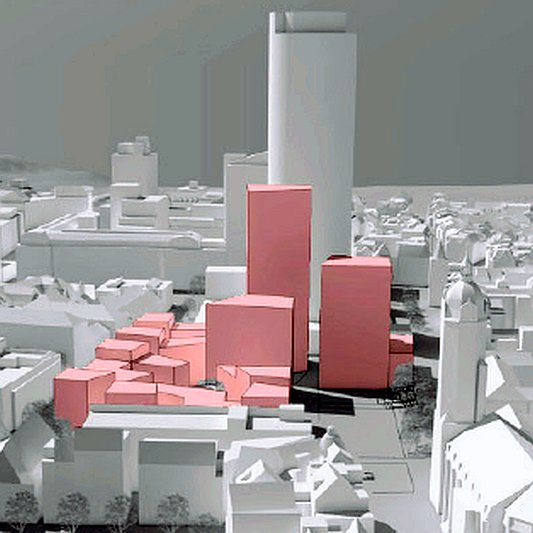 Idee für die bebauung Eichplatz Neue Stadtmitte - Visualisierung © AS+P Stadt Jena