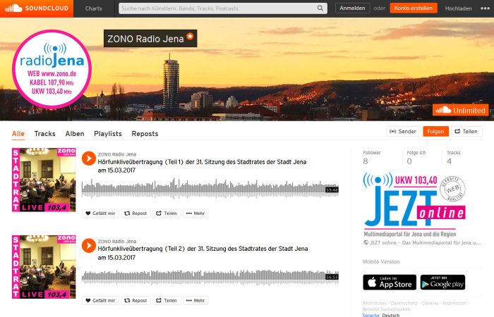 Der neue Kanal von ZONO Radio Jena bei Soundcloud. Abbildung © MediaPool Jena.jpg