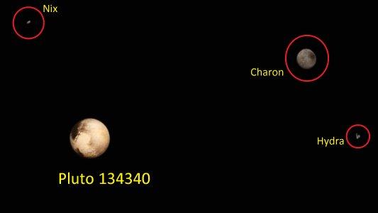 Pluto 134340 mit den Monden Charon Hydra und Nix.. - Fotos © NASA Team New Horizons