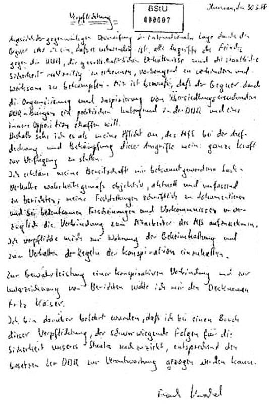 Stasi-Verpflichtungserklärung von MdL Frank Kuschel alias Fritz Kaiser aus dem Jahre 1988