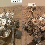Der Mars-Rover Curiosity 2012 und 2017 im Selbstportrait - Bildrechte: NASA/JPL-Caltech