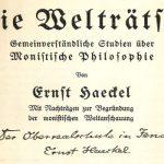 """Von Ernst Haeckel der Oberrealschule in Jena gewidmetes Buch """"Die Welträtsel"""". - Abbildung © MediaPool Jena"""